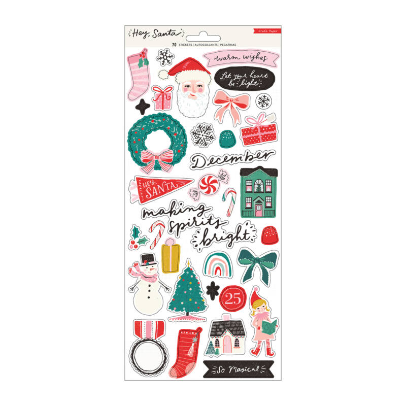 Crate Paper - Hey, Santa 6x12 Sticker Sheet (70 Piece)