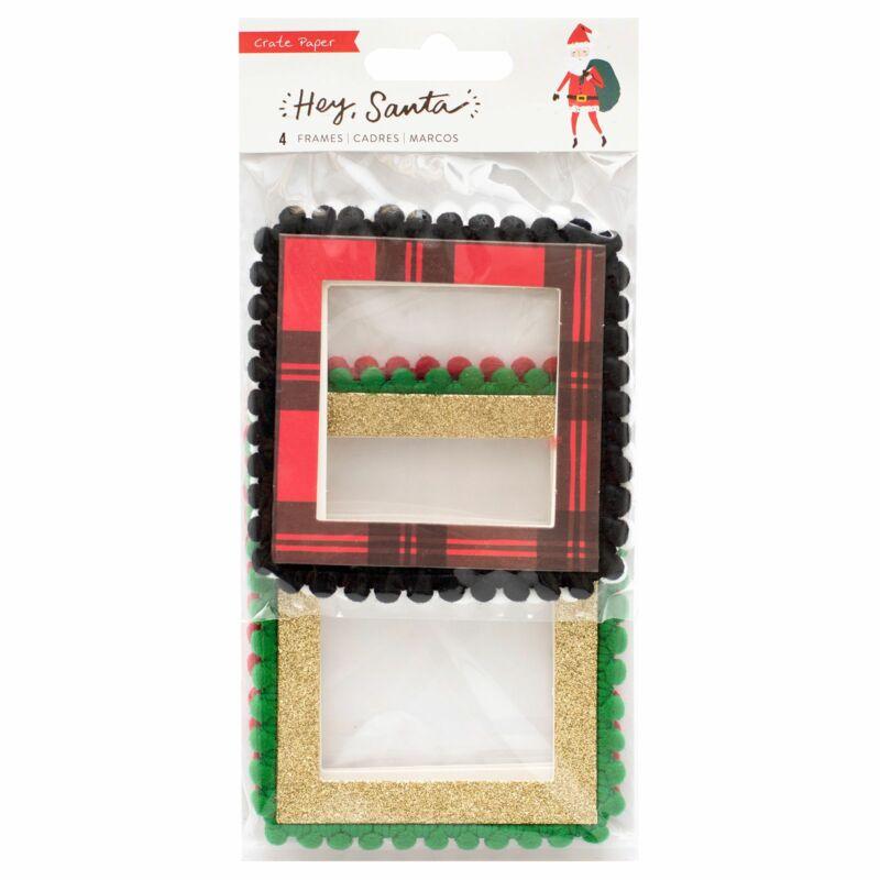 Crate papír - Hey, Santa pom-pom keretek (4 db)