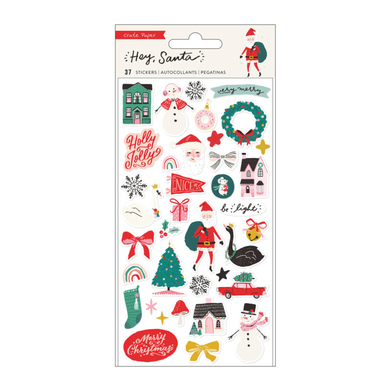 Crate Paper - Hey, Santa Puffy Stickers (37 Piece)