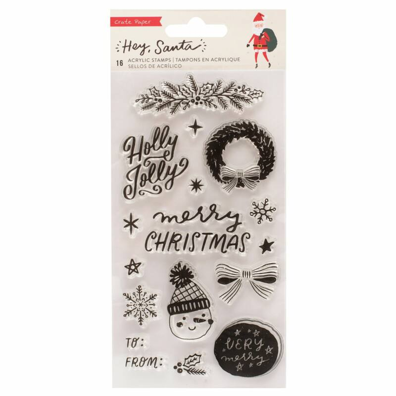 Crate Paper - Hey, Santa Acrylic Stamps (16 Piece)