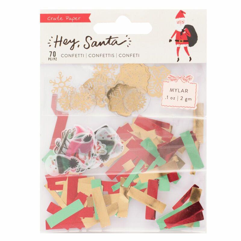 Crate Paper - Hey, Santa Confetti Set - Mylar (70 Piece)