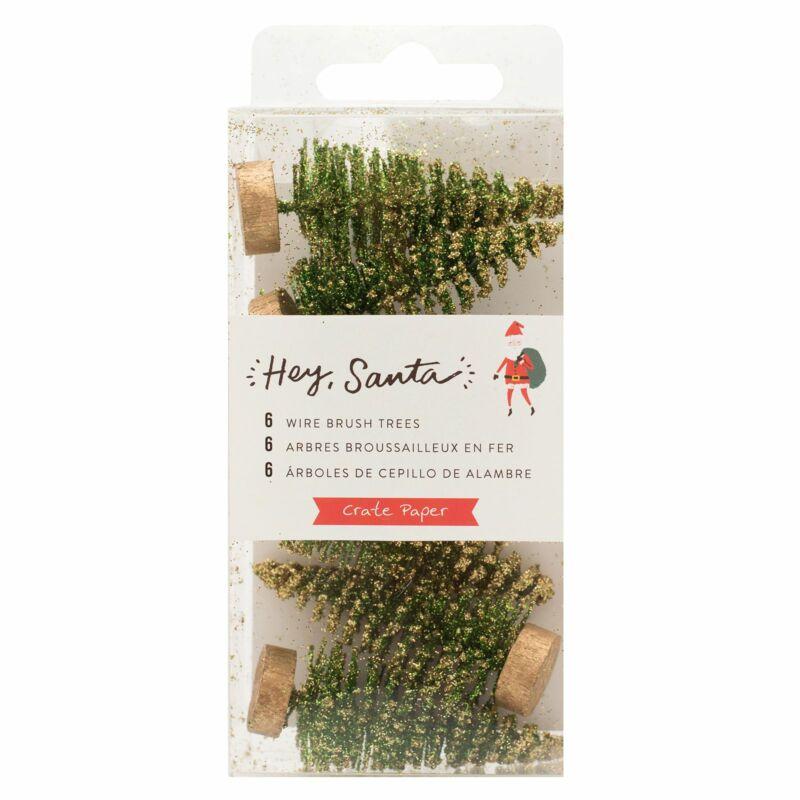 Crate papír - Hey, Santa drót fenyő - zöld (6 db)