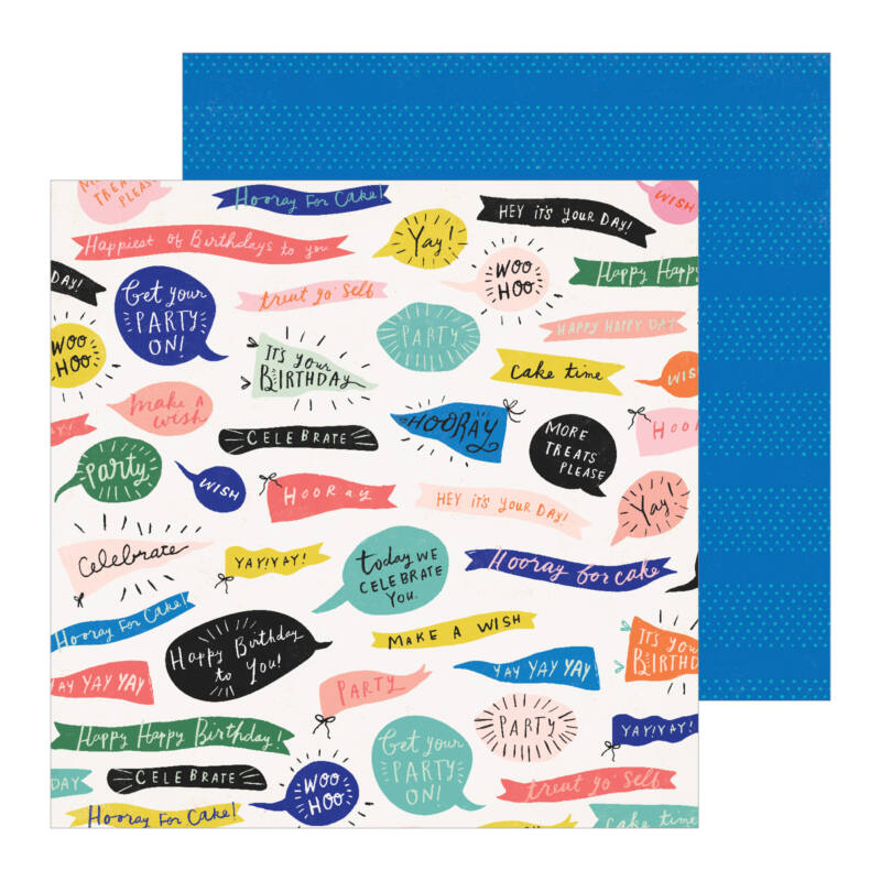 Crate Paper - Hooray 12x12 Patterned Paper -  Woo Hoo