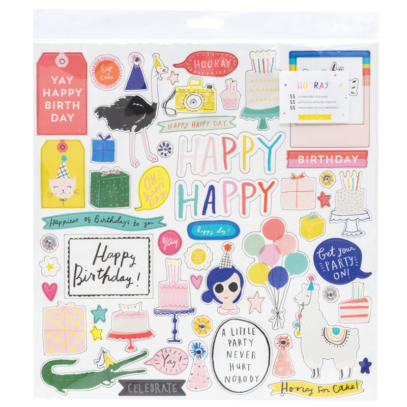 Crate Paper - Hooray 12x12 chipboard matrica (51 db)