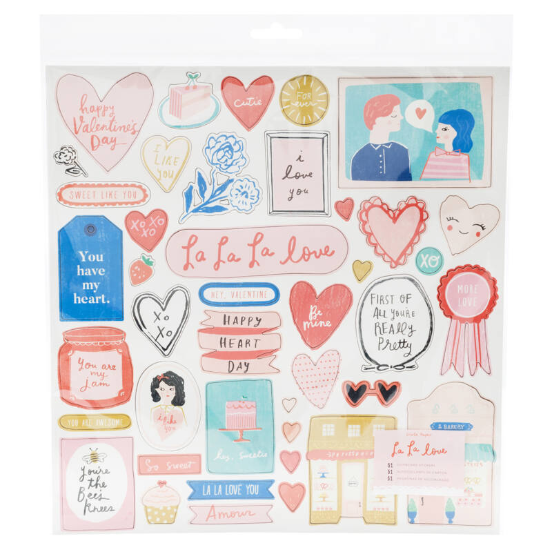 Crate Paper - La La Love 12x12 Chipboard Sticker (51 Piece)