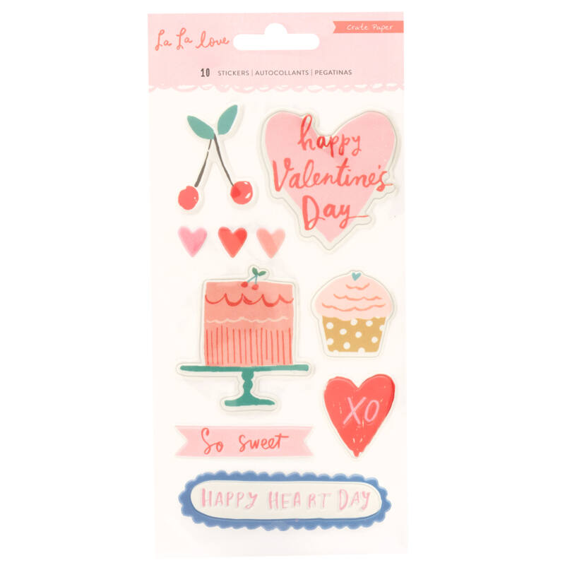 Crate Paper - La La Love Embossed Puffy Stickers (10 Piece)