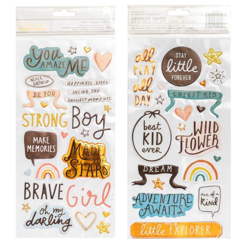 Crate Paper - Magical Forest Phrase Thickers - Brave (58 Piece)