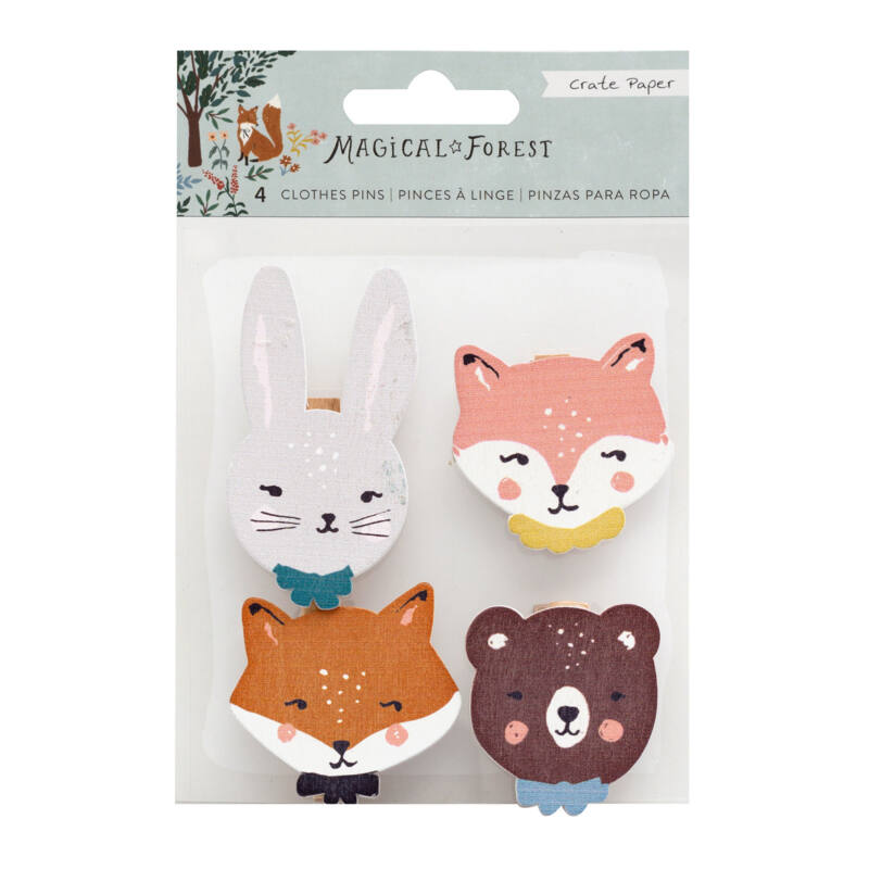Crate Paper - Magical Forest Wood Icon Clothes Pins (4 Piece)