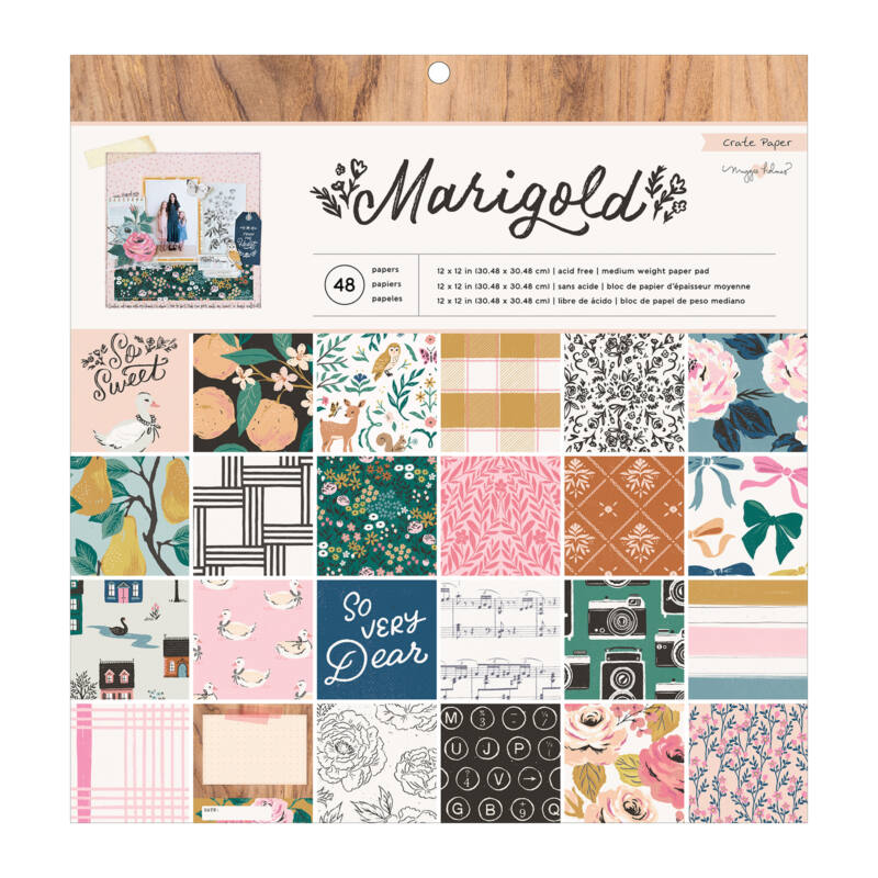 Crate Paper - Maggie Holmes - Marigold 12x12 Paper Pad (48 Sheets)