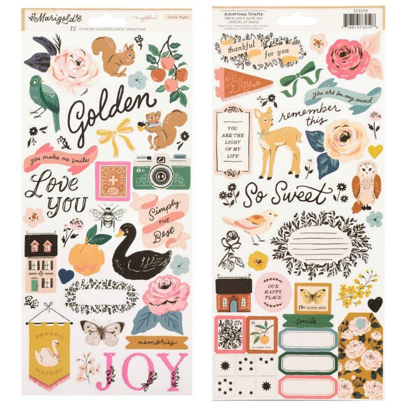 Crate Paper - Maggie Holmes - Marigold 6x12 Sticker Sheet (72 Piece)
