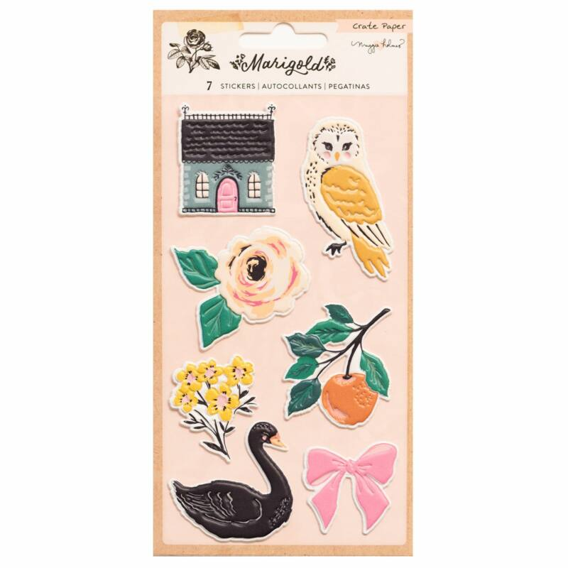 Crate Paper - Maggie Holmes - Marigold Embossed Puffy Sticker (6 Piece)