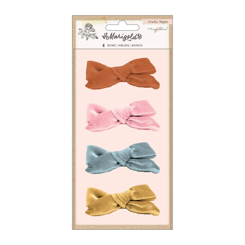 Crate Paper - Maggie Holmes - Marigold Velvet Adhesive Bows (4 Piece)