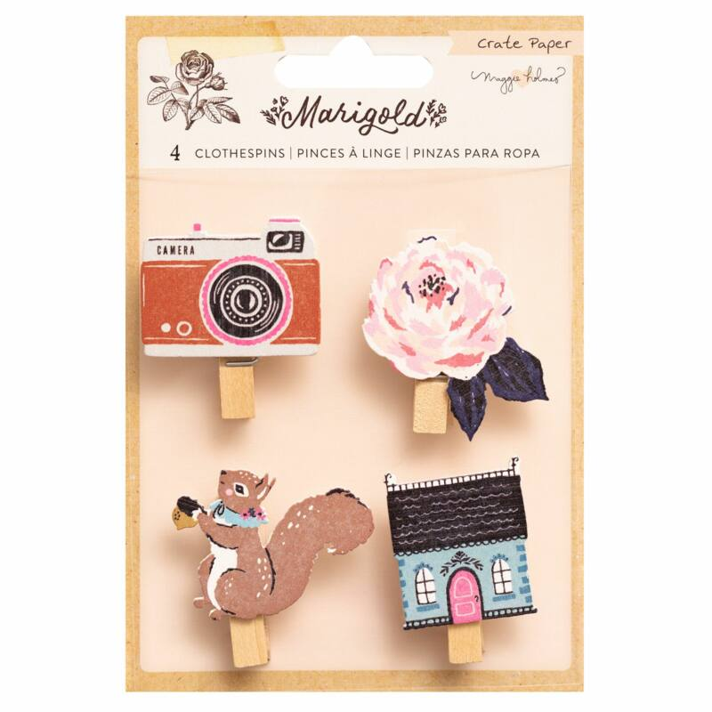 Crate Paper - Maggie Holmes - Marigold Clothespins (4 Piece)