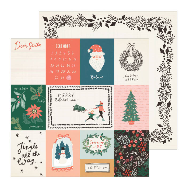 Crate Paper - Merry Days 12x12 Paper - Sleigh Ride