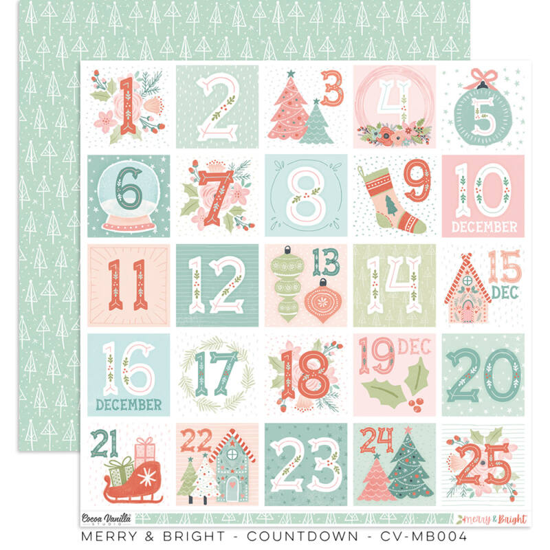 Cocoa Vanilla Studio - Merry & Bright 12x12 papír - Countdown