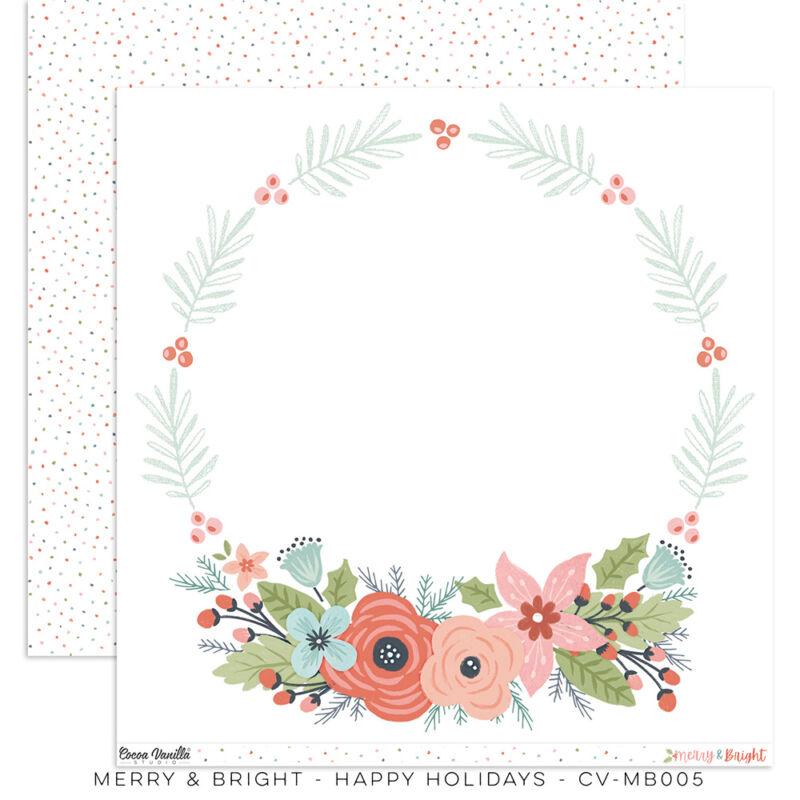 Cocoa Vanilla Studio - Merry & Bright 12x12 Paper - Happy Holidays