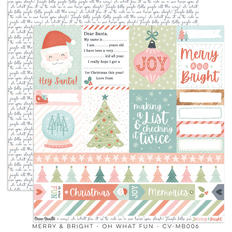 Cocoa Vanilla Studio - Merry & Bright 12x12 papír - Oh What Fun