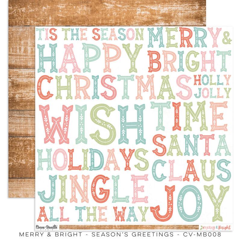 Cocoa Vanilla Studio - Merry & Bright 12x12 Paper - Season's Greetings