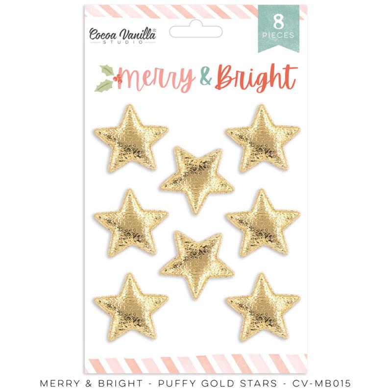 Cocoa Vanilla Studio - Merry & Bright Puffy Gold Stars