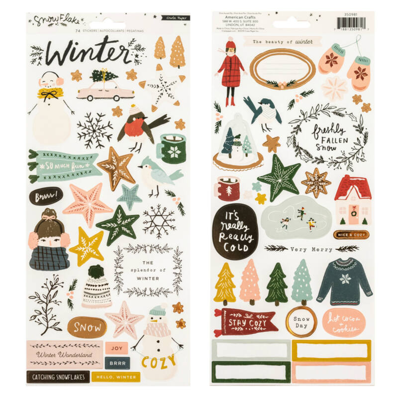 Crate Paper - Snowflake 6x12 Sticker (74 Piece)