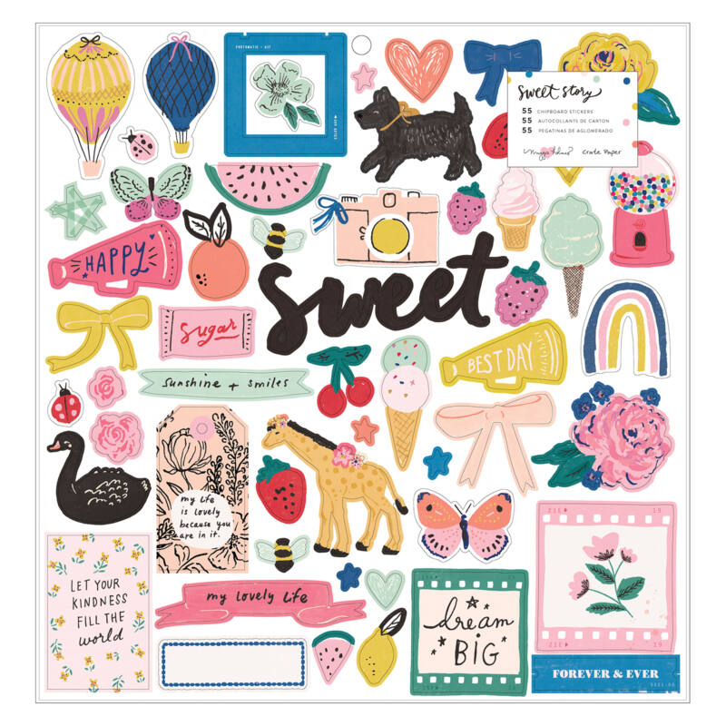 Crate Paper - Maggie Holmes - Sweet Story 12x12 chipboard matrica (55 db)