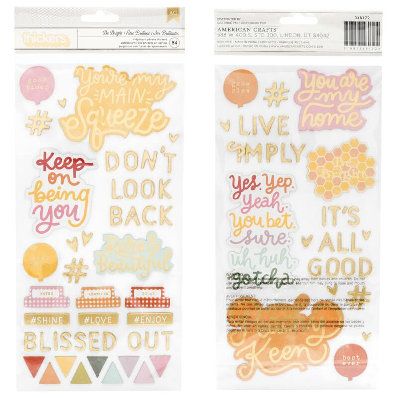 Dear Lizzy - It's All Good Chipboard Thickers - Be Bright (84 Piece)