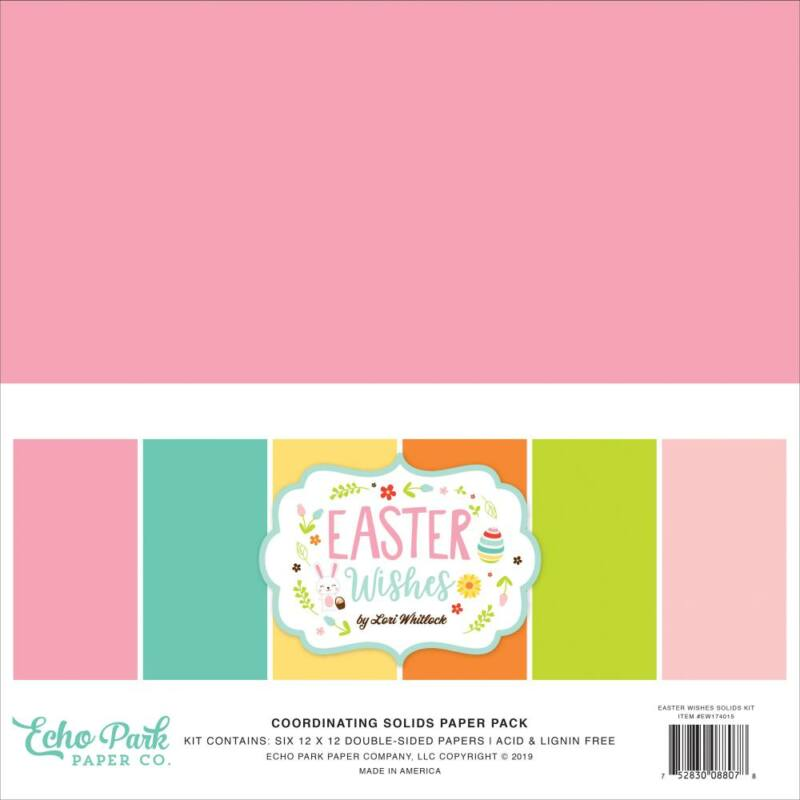 Echo Park - Easter Wishes 12x12 Double-Sided Solid Cardstock (6 Sheets)