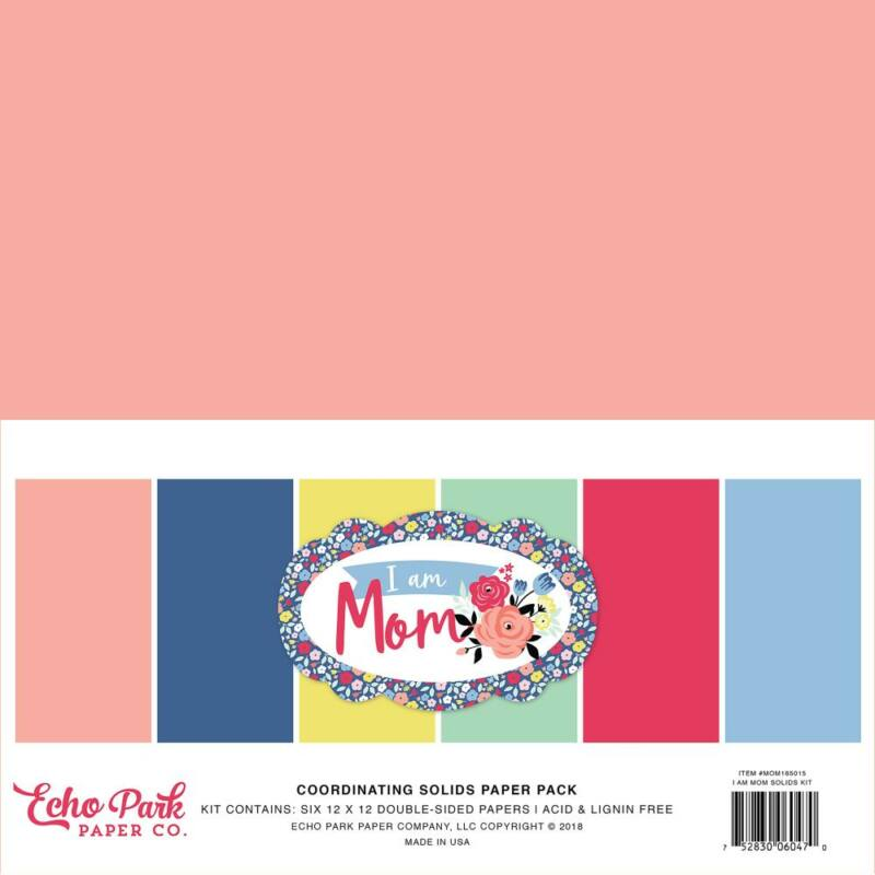 Echo Park - I Am Mom 12x12 Double-Sided Solid Cardstock (6 Sheets)