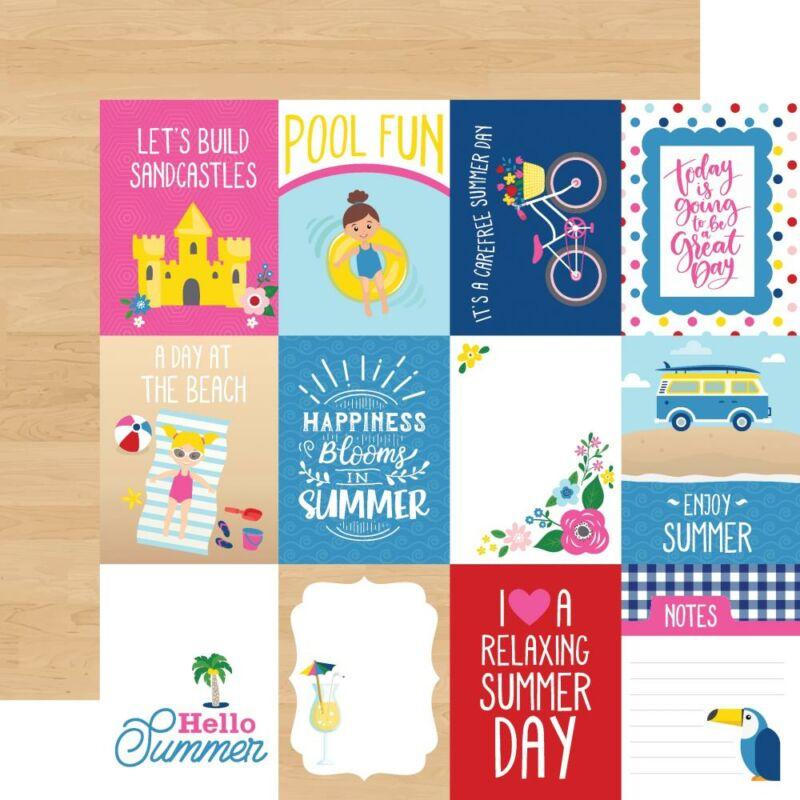 Echo Park - I Love Summer 12x12 Paper - 3x4 Journaling Cards