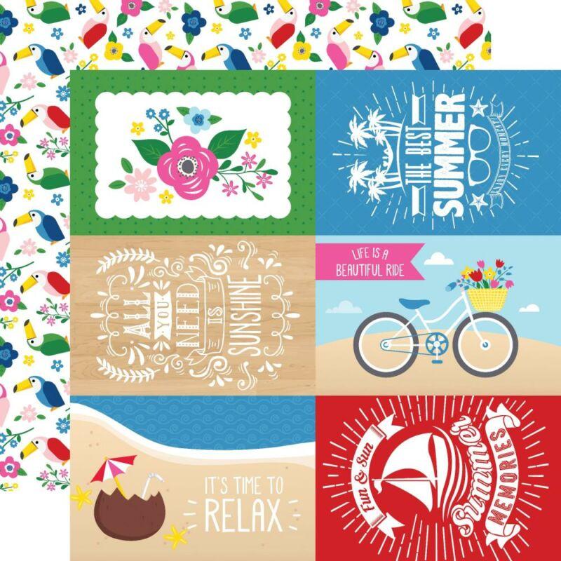 Echo Park - I Love Summer 12x12 Paper - 4x6 Journaling Cards