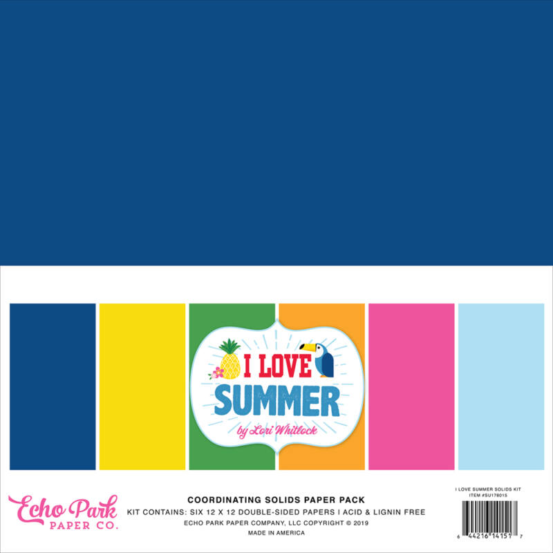 Echo Park - I Love Summer 12x12 Double-Sided Solid Cardstock  (6 Pieces)