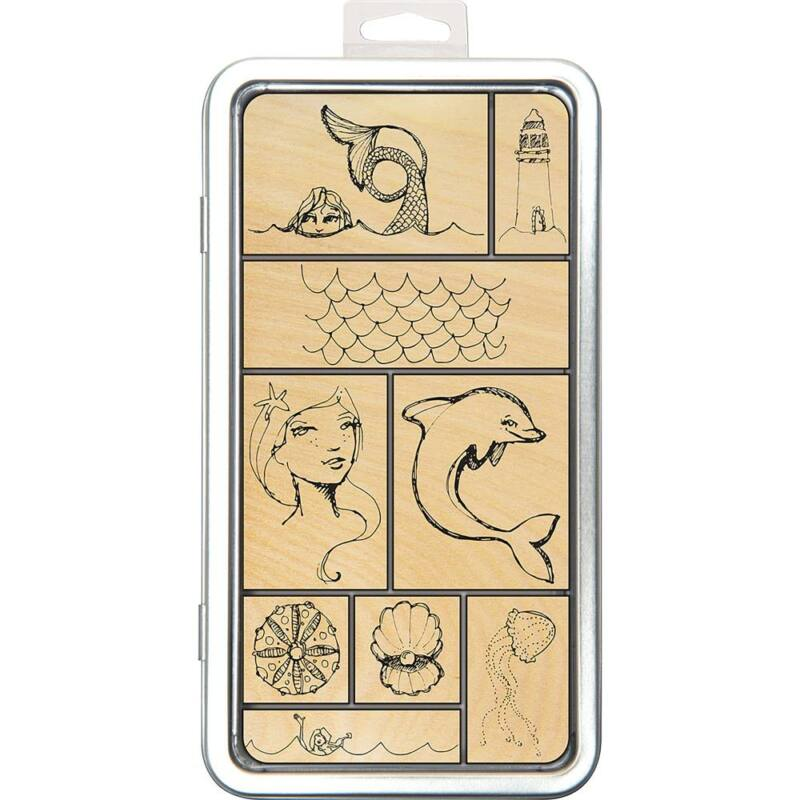 Spellbinders - Jane Davenport Artomology Wood Mount Stamps - Tin of Mermaids