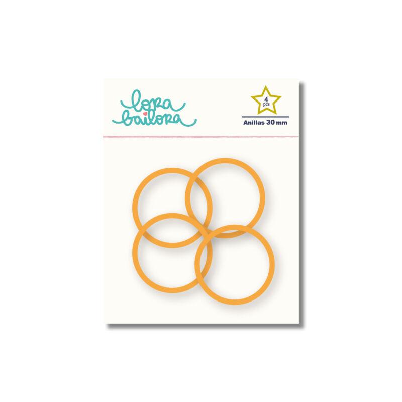 Lora Bailora - fémgyűrű, album karika 30 mm - narancs (4 db)
