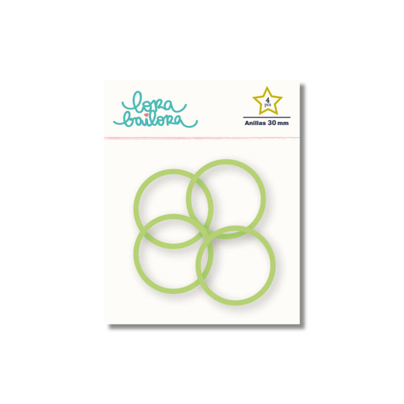 Lora Bailora - Book Ring 30 mm - Green (4 Pieces)