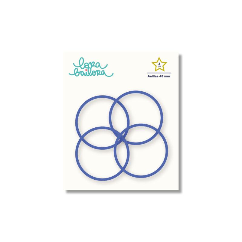 Lora Bailora - fémgyűrű, album karika 45 mm - indigó kék (4 db)