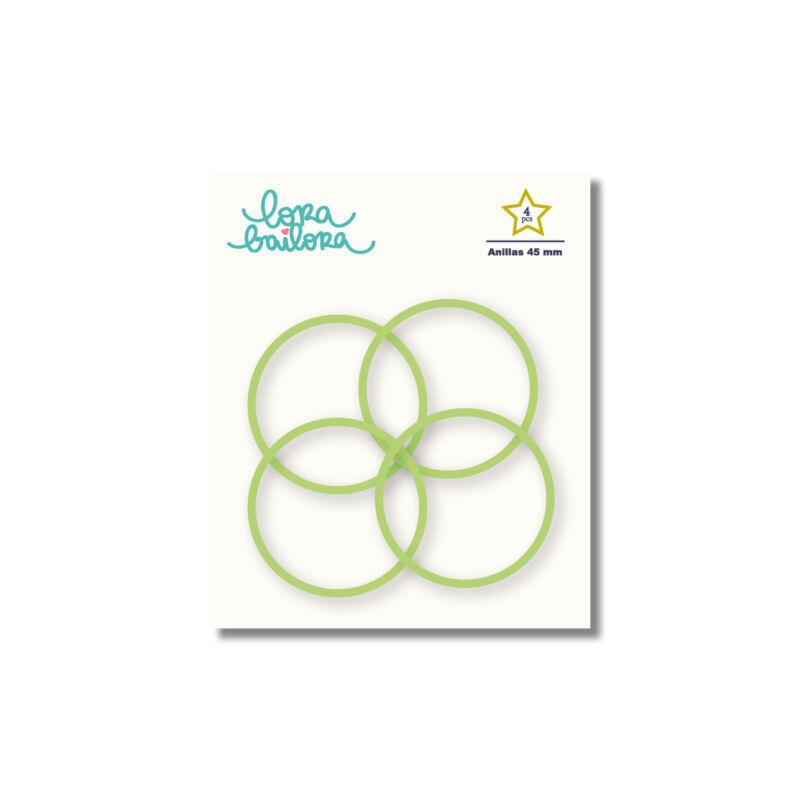 Lora Bailora - fémgyűrű, album karika 45 mm - zöld (4 db)