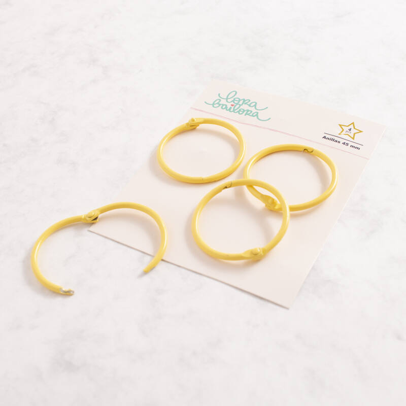 Lora Bailora - Book Ring 45 mm - Yellow (4 Pieces)