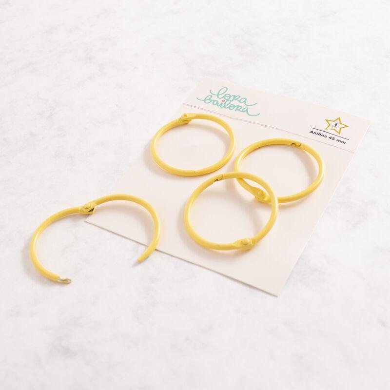 Lora Bailora - fémgyűrű, album karika 45 mm - sárga  (4 db)