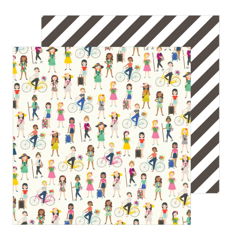 Pebbles - Chasing Adventures 12x12 Patterned Paper - On The Go Girls