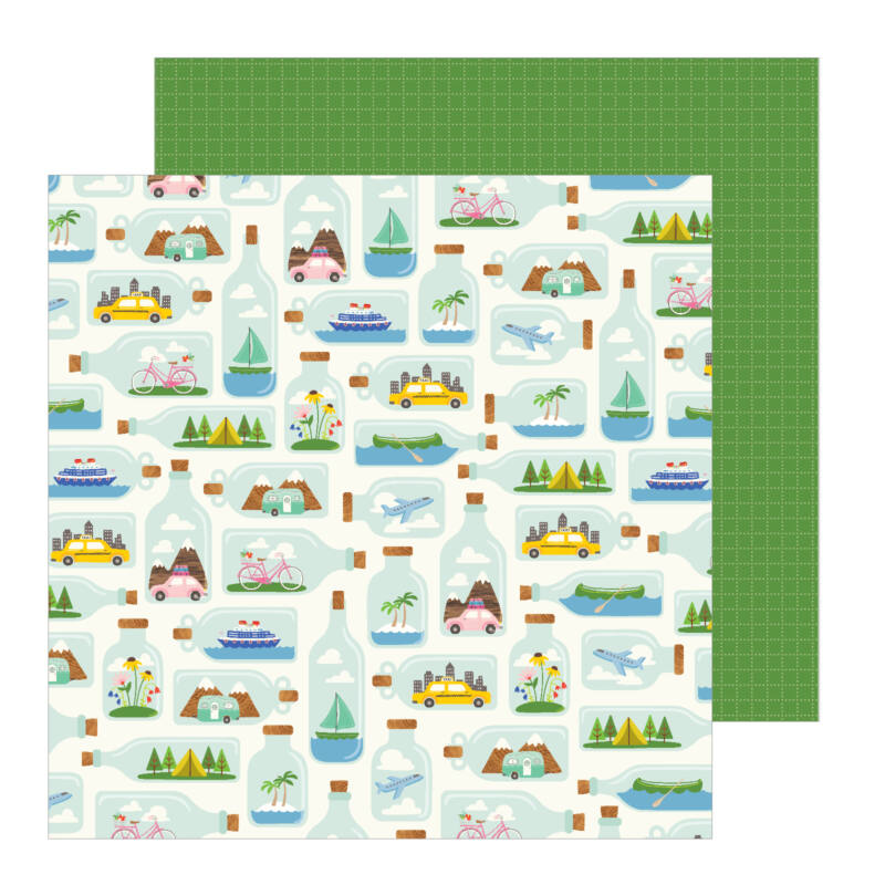Pebbles - Chasing Adventures 12x12 Patterned Paper - Tiny Travels