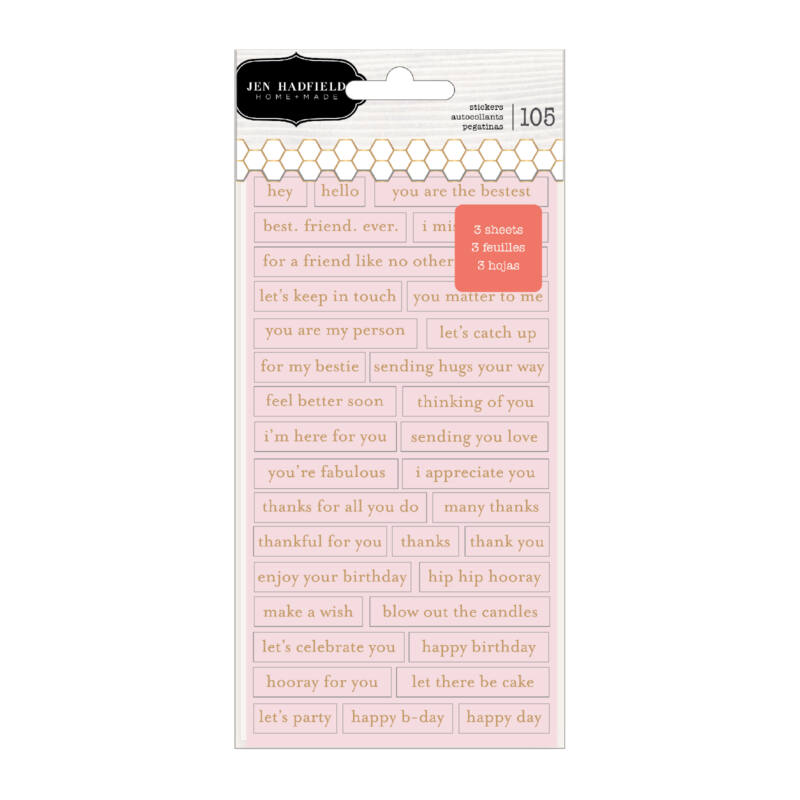 Pebbles - Hey, Hello Repeat Label Stickers (105 Piece)