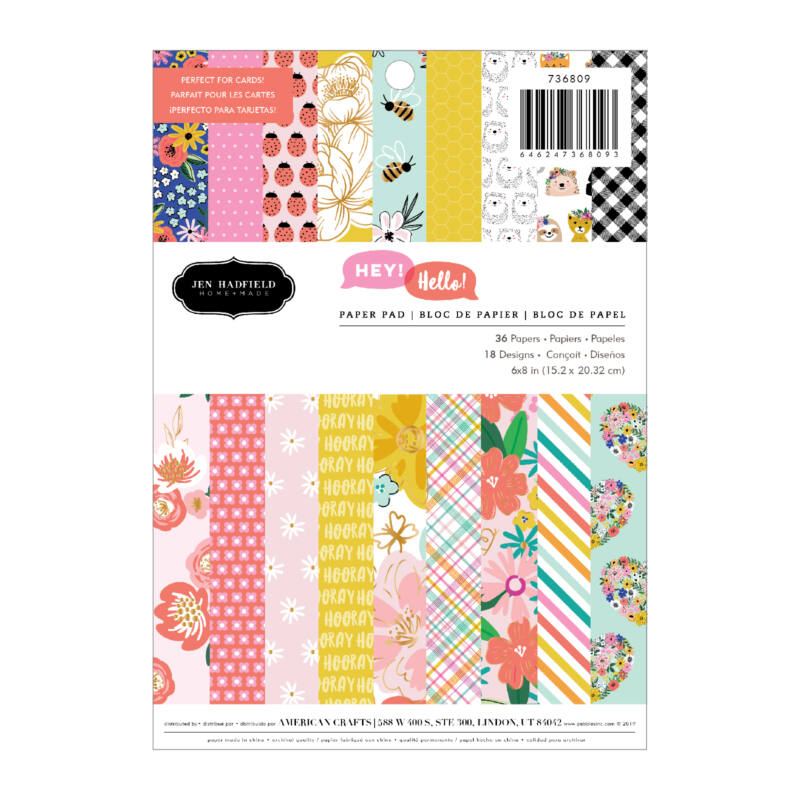 Pebbles - Hey, Hello 6x8 Paper Pad (36 Sheets)