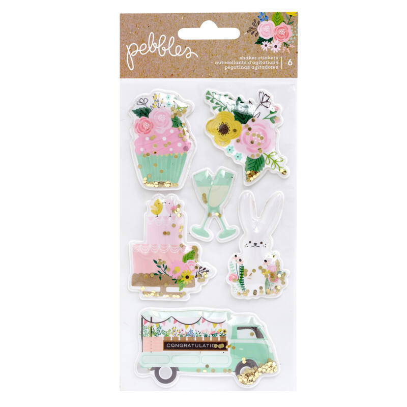 Pebbles - Lovely Moments Shaker Stickers (6 Piece)