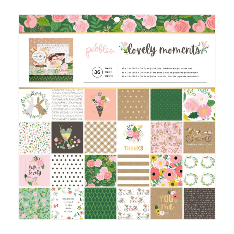 Pebbles - Lovely Moments 12x12 Paper Pad (36 Sheets)
