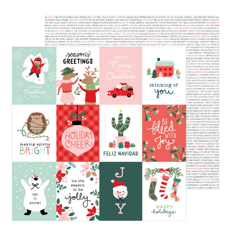 Pebbles - Merry Little Christmas 12x12 Patterned Paper - Holiday Cheer
