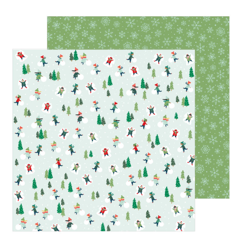 Pebbles - Merry Little Christmas 12x12 Patterned Paper - Snow Day