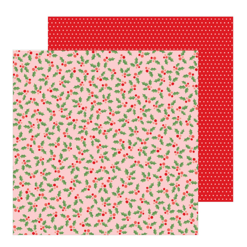 Pebbles - Merry Little Christmas 12x12 Patterned Paper - Jolly Holly