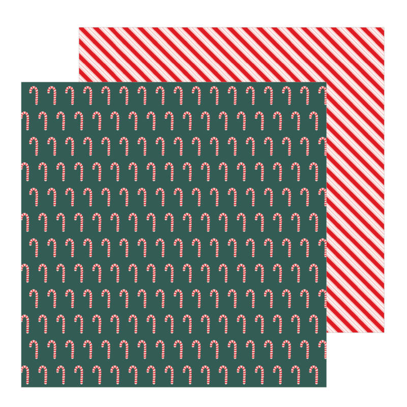 Pebbles - Merry Little Christmas 12x12 Patterned Paper - Candy Cane