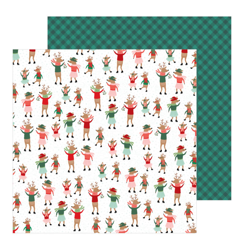 Pebbles - Merry Little Christmas 12x12 Patterned Paper - Dancing Reindeer