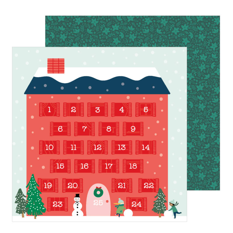 Pebbles - Merry Little Christmas 12x12 Patterned Paper - Counting Down